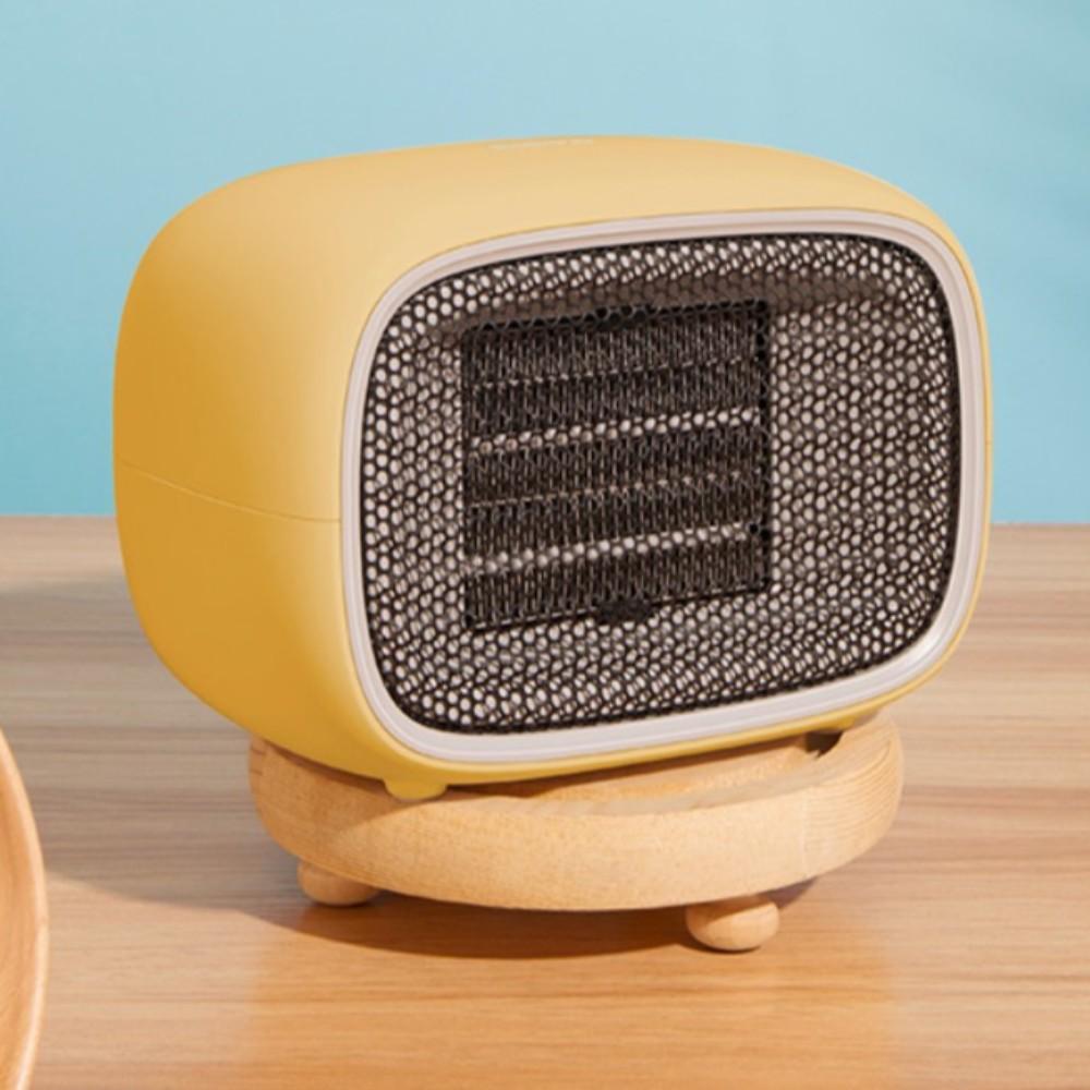 마카롱 온풍기 겨울 캠핑 난방 저전력 히터 야외 휴대용 미니 사무실 가정용, 옐로 (돼지코 증정)