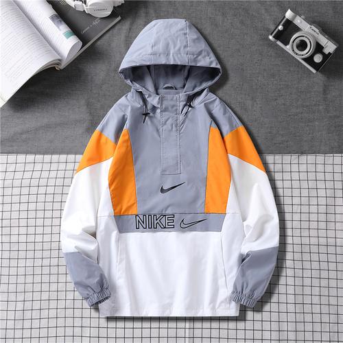 해외 남녀 후드바람막이 나이키 스우시 집업자켓 윈드러너 하프집업 우븐 아노락 자켓 Nike Nike 재킷 남성 봄 가을 남성 느슨한 트렌드 대비 색상 헤징 구매