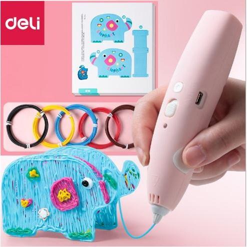 Deli 2020최신형 고급형 저온 무선 3D펜 펜형 어린이 선물 상상력발휘, 핑크