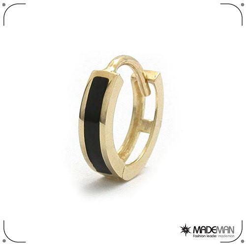 메이드맨 10K Gold 오닉스 원터치 귀걸이M (한쪽)