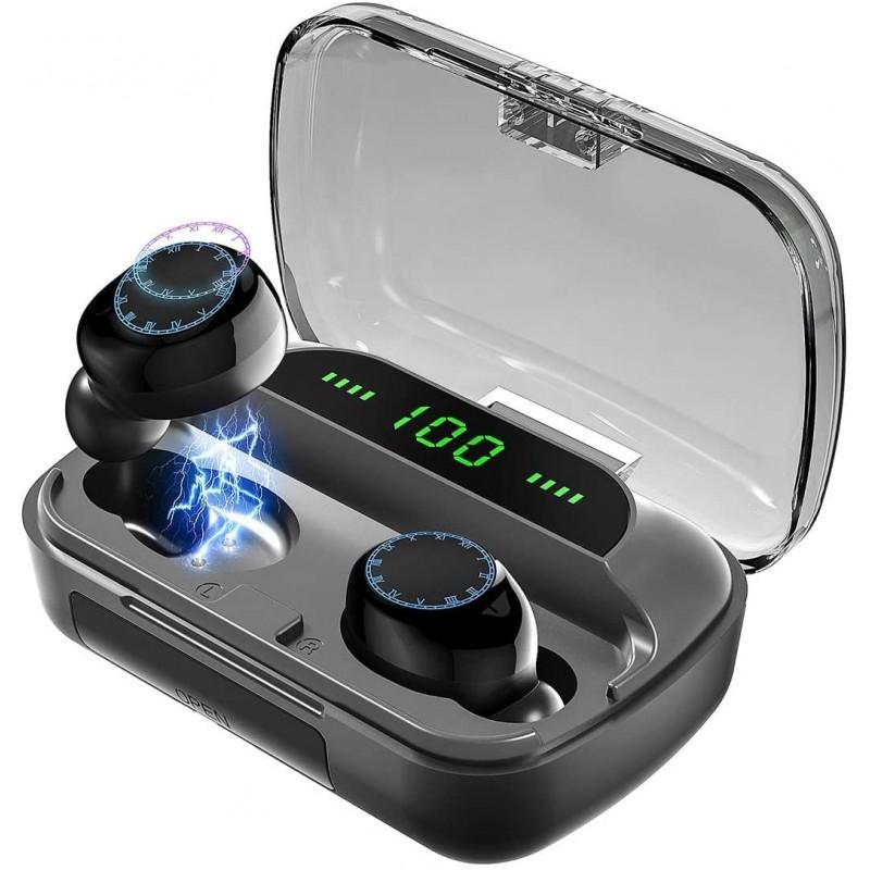 무선 이어 버드 블루투스 헤드폰 BRJ f9 방수 딥베이스 이어폰 휴대용 파워 뱅크 스마트 LED 디스플레이 내장 마이크 헤드셋, 단일옵션, 단일옵션