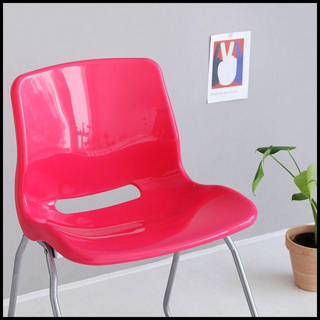 OT 마켓비 VENU 의자 공부의자 학생의자 등받이의자 핑크 상판만 곡목의자 빈티지의자