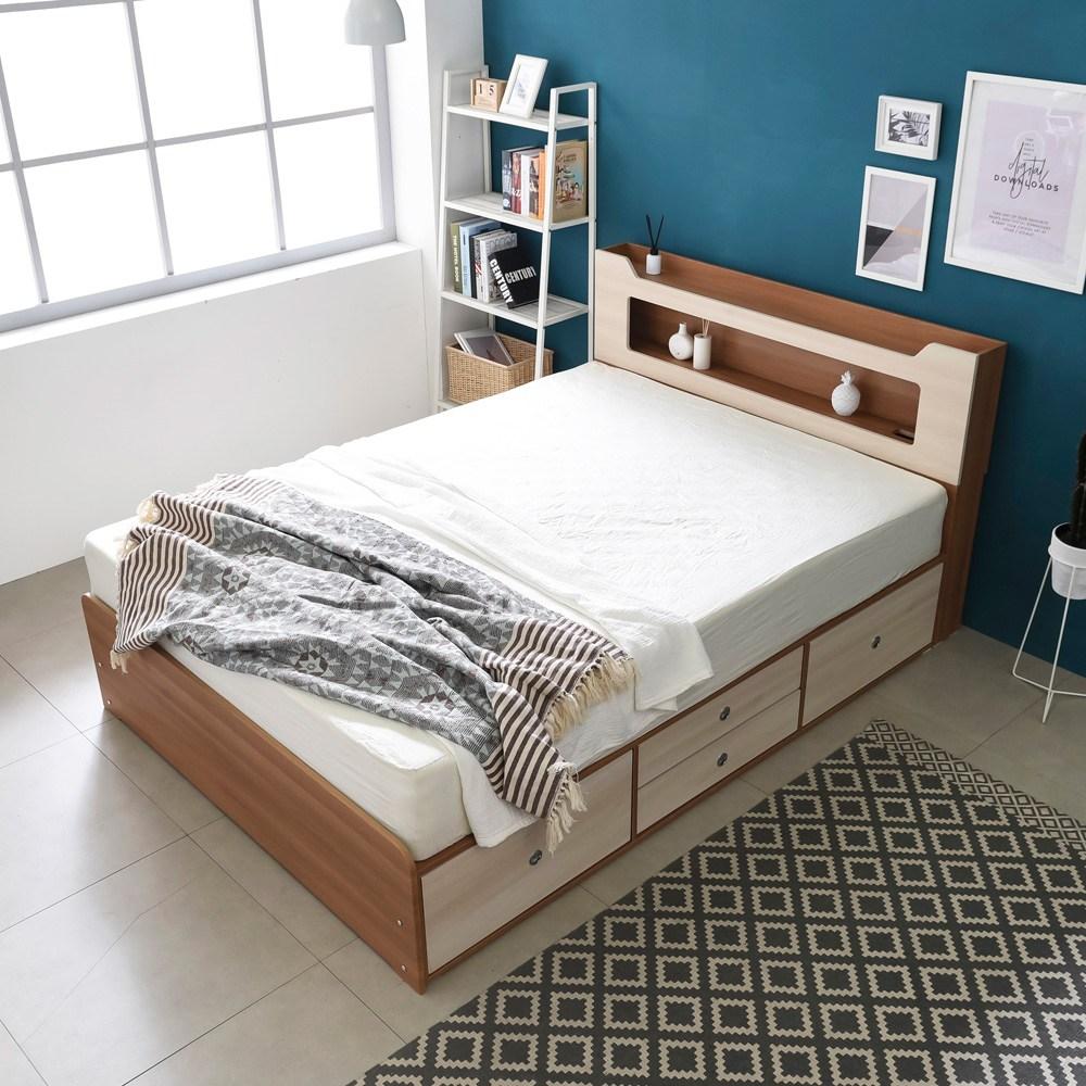 동서가구 스텔라 LED 수납헤드 4서랍 침대 퀸+7존독립매트, 오크워시