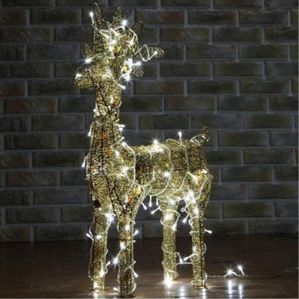led 불빛이 반짝 골드 사슴 조형물 50cm 크리스마스장식 인테리어소품 루돌프장식