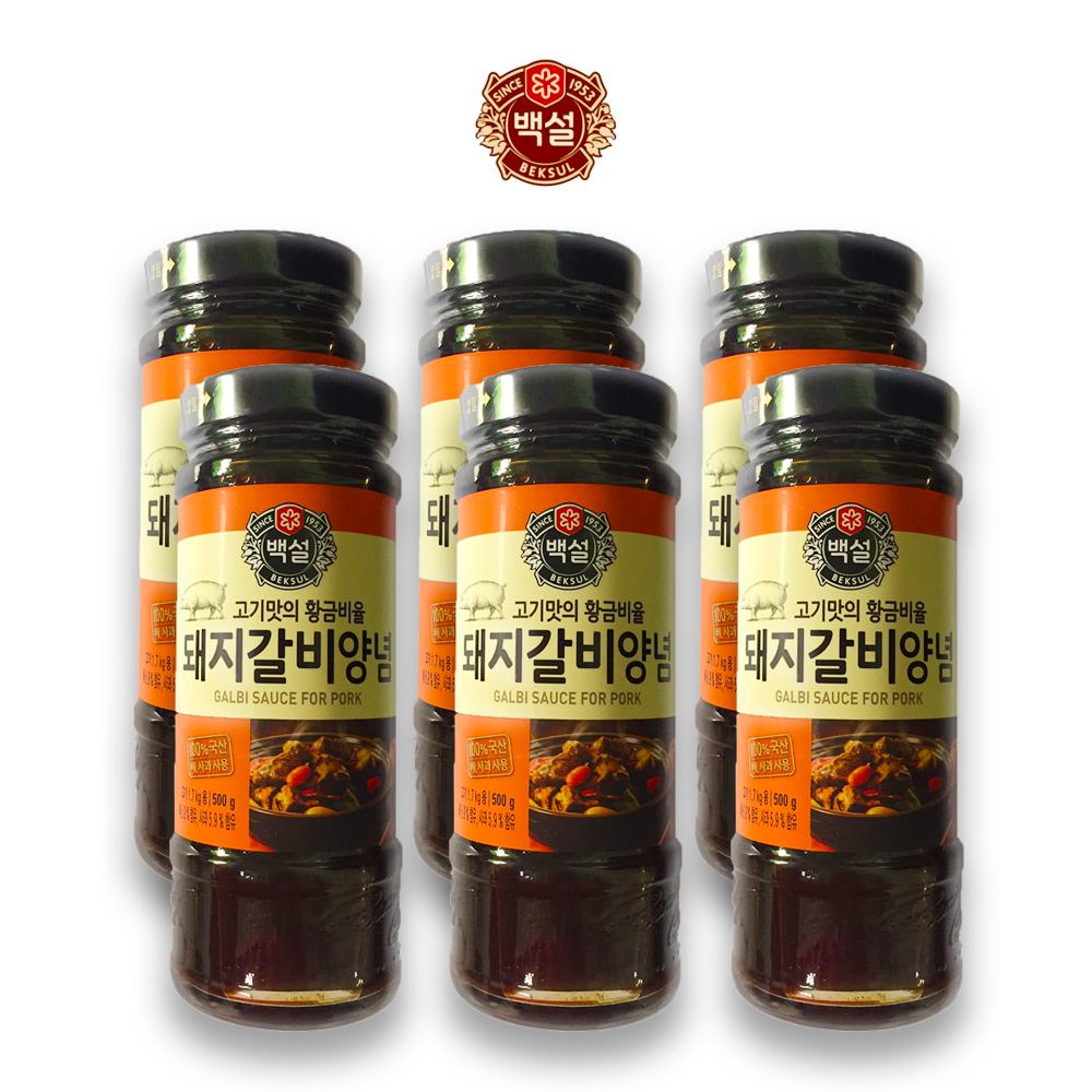 예이니식품 CJ 백설 돼지갈비 양념 6개(500gx6개) 여행간편요리소스조림볶음, 500g, 6개