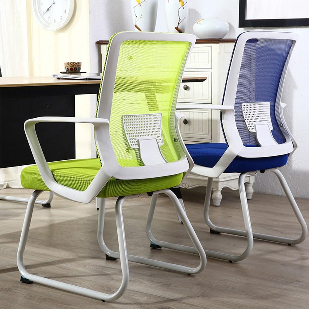 바퀴없는 편안한 의자 5컬러 데스크 책상 회의실 사무실 Opl, 블랙(블랙프레임)