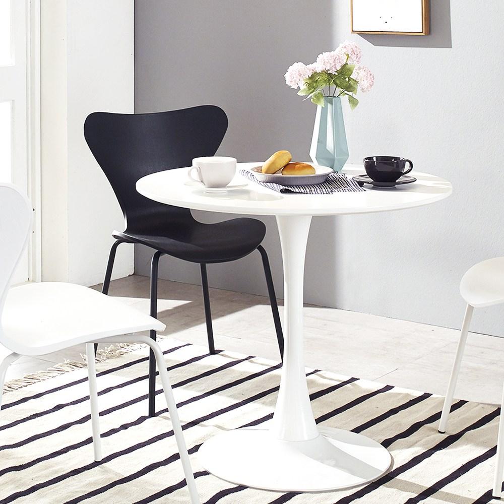 지엠퍼니처 플로윙 화이트 원형테이블 2인용식탁 2종 식탁/입식테이블, 플로윙 800 화이트+화이트
