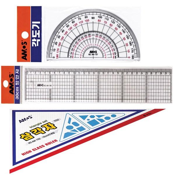 AMOS 각도기+삼각자+광폭방안자 30cm 세트, 1개, 상세페이지 참조 (POP 268012001)