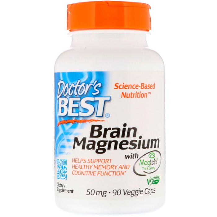 닥터스 베스트 메그테인 함유 브레인 마그네슘 50 mg 90 식물성 캡슐, 1개