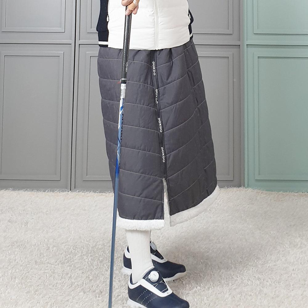 제니유 쉬핑 양털 겨울 방한기모 여자 골프 패딩 롱 치마, 차콜