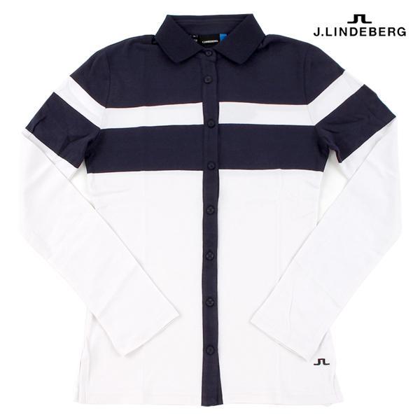 제이린드버그 (J.LINDEBERG) 19 AW 여성용 골프 자켓 긴팔 셔츠 모음, 06.Belen L/S Cotton (White)