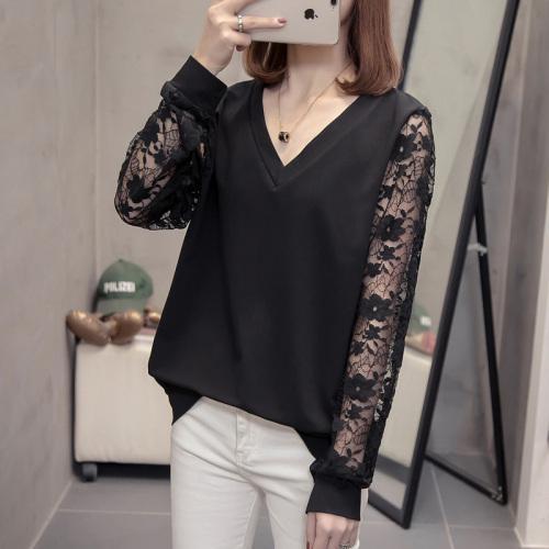 [유디코] 여성 빅사이즈 소매 레이스 브이넥 티셔츠(3컬러) 긴팔 티셔츠