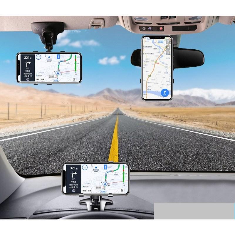 (돈버몰) 360도 회전 차량용 클립형 핸드폰거치대, 검은색