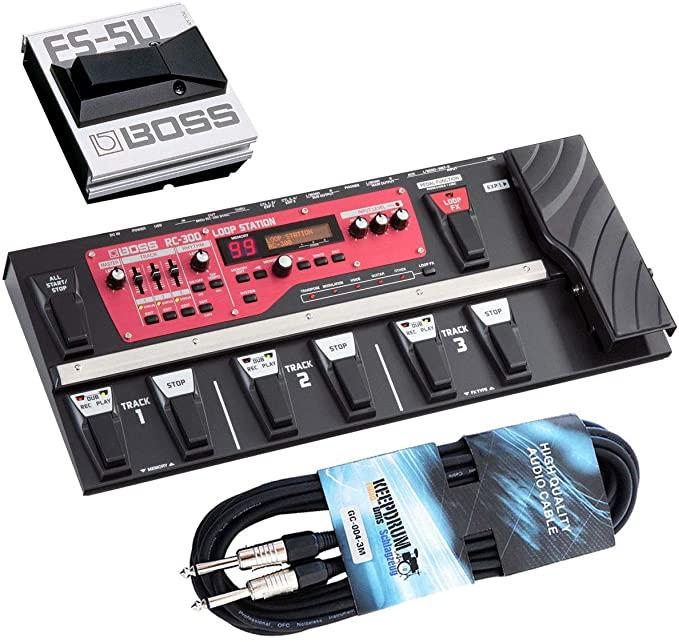 보스 RC-300 루프 스테이션 루퍼 페달 + FS-5U 발 버튼 + 드럼 잭 케이블 3m 유지