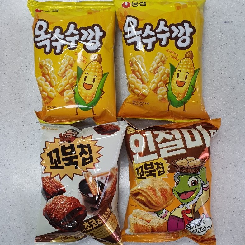 디에이엠 농심옥수수깡70g 2봉+오리온꼬북칩초코츄러스맛80g 1봉+인절미맛65g 1봉(총4개)