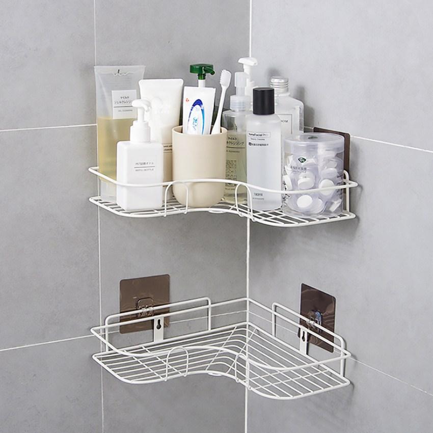 이지홈쇼핑 무타공 철제 화장실 욕실 수납 코너선반 정리대, 2개, 화이트
