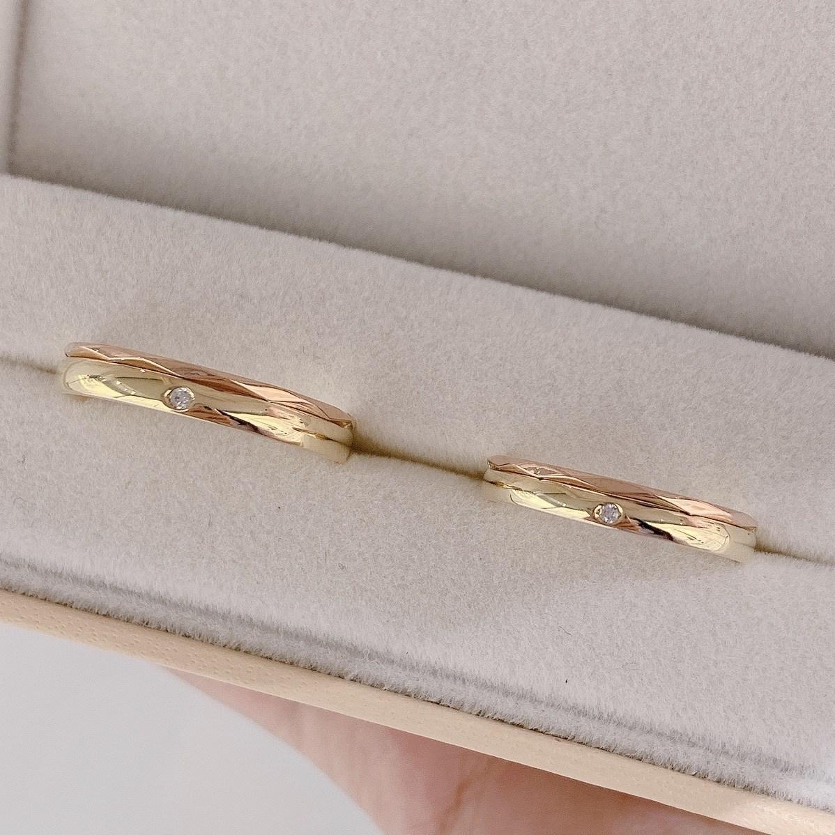 [클루 커플링] 10k 14k 골드 민자 큐빅포인트 투톤 골드 커플반지1957AT