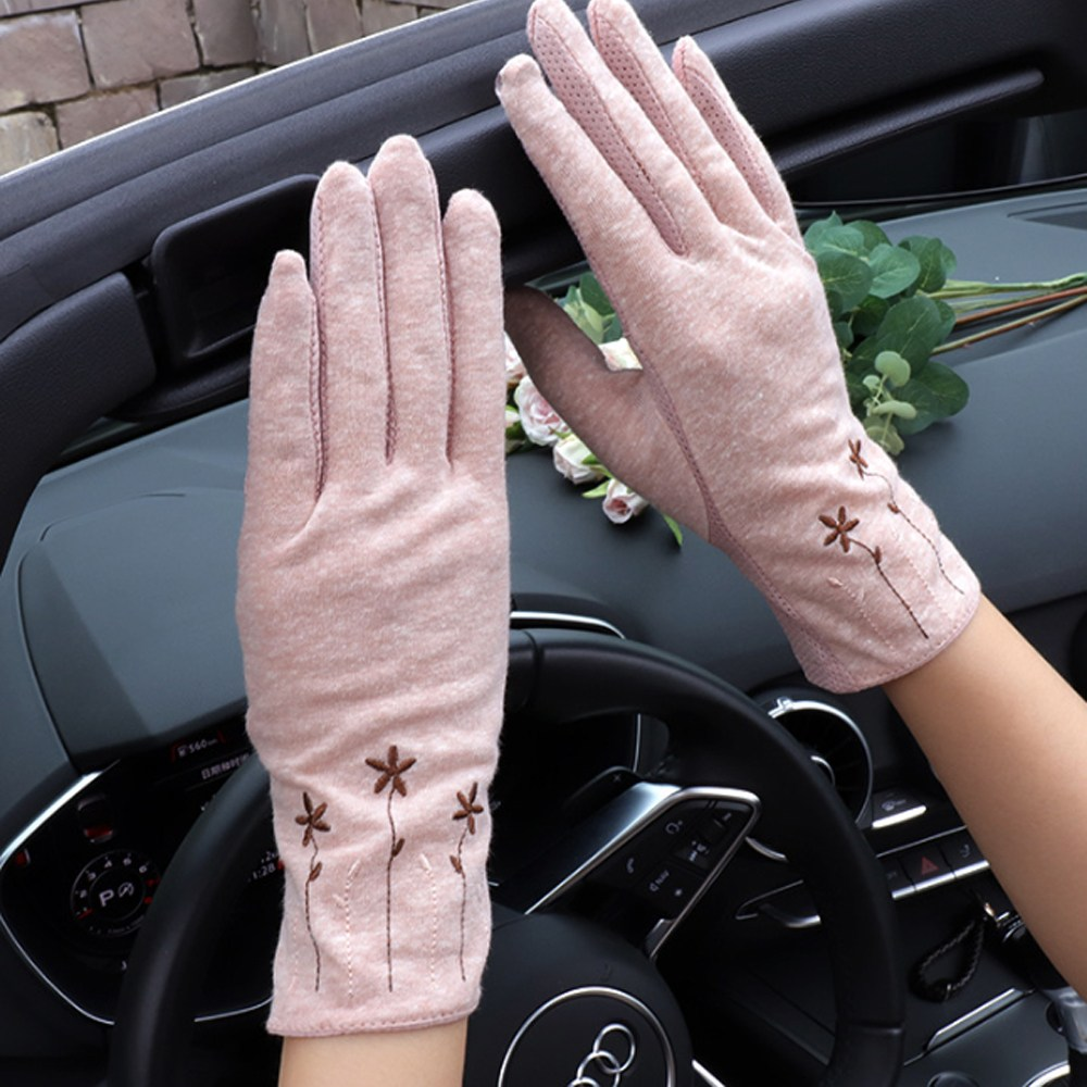 cooreena 운전 장갑 레이스 패션 자외선차단 봄 여름 여성 면 등산 가을 터치 스마트폰 손가락, 핑크