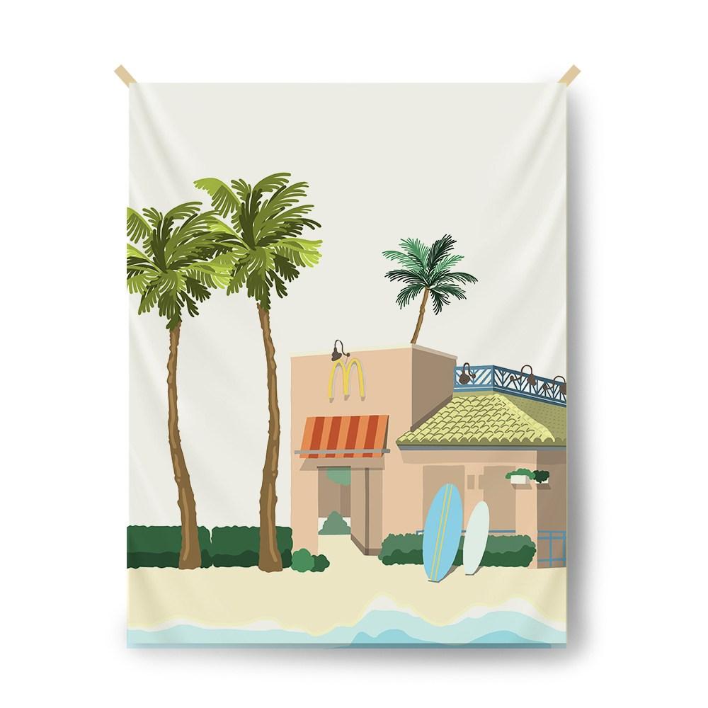 [ 드로잉모드 ] 홈인테리어 감성 행잉 가리개커튼 패브릭포스터, Hawaii