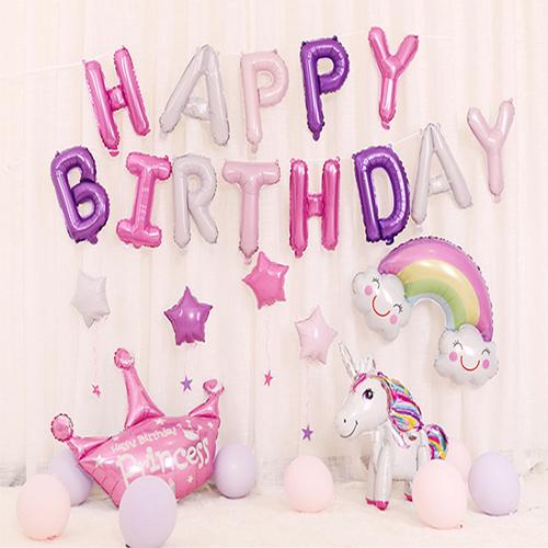 생활살림 올인원 해피버스데이 생일 풍선 세트, 1세트, 혼합 색상