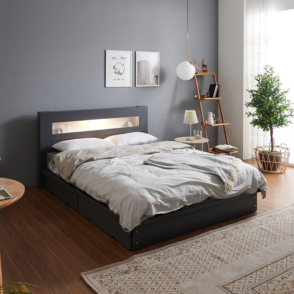 크렌시아 아리스 LED 서랍형 퀸 침대 Q+본넬 매트리스+방수커버, 그레이