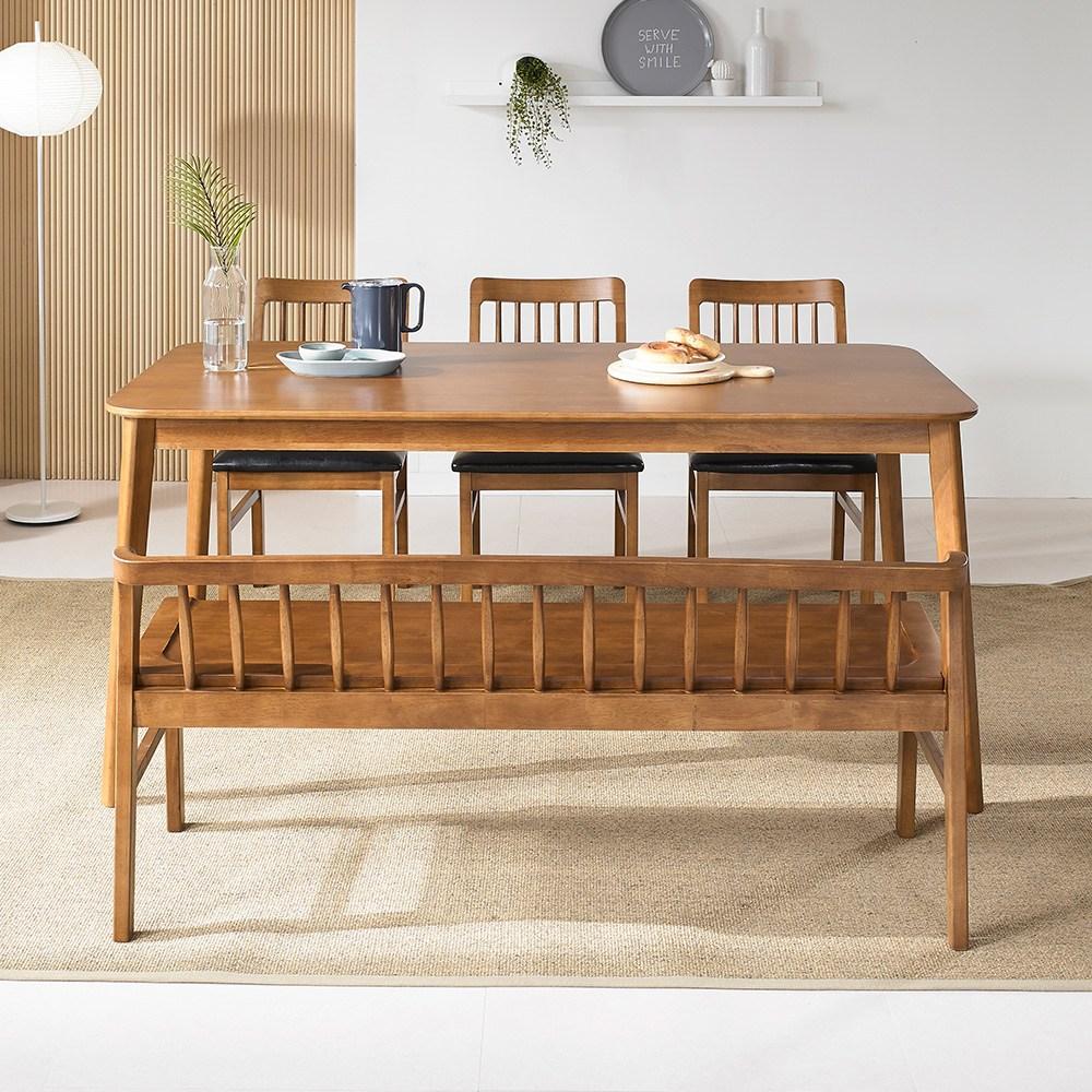라로퍼니처 모카 원목 6인용 식탁 세트 벤치형B(식탁+의자3+벤치1개) 식탁세트, 단품