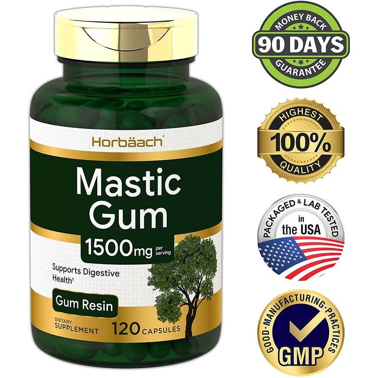 미국 정품 Horbaach 식물성 천연위장약 매스틱검 위염 역류성식도염 영양제 1000mg 120캡슐, 1병