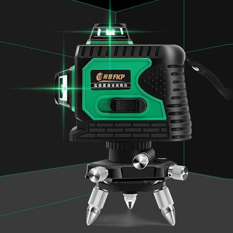 FKP 3D 360도 레이저 레드라이트 8라인 12라인 레벨기 수평측정기 3종, 01_3D레이저라벨기_그린_12라인(삼각대포함)