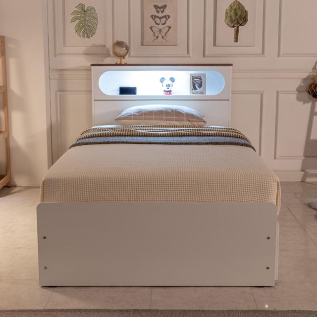 블랑누보 원룸 다용도 LED 공간활용 신혼부부 자취방 1인용 높은 침대, 화이트(슈퍼싱글_220V+USB2+LED)