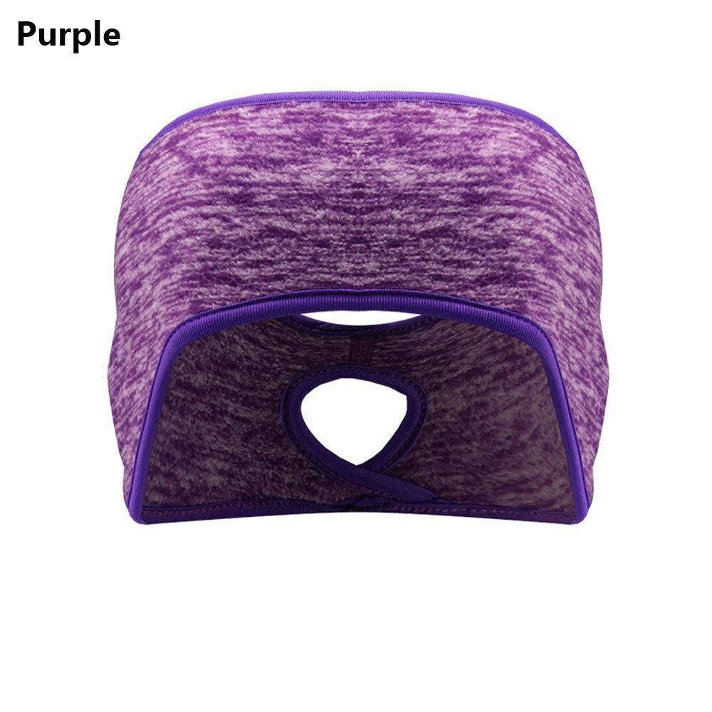 러닝 헤드 밴드 포니 테일 머리띠 여성 남성 겨울 머리띠 귀 워머 여성 소녀 야외 스포츠 양털 귀 커버, B-purple_9
