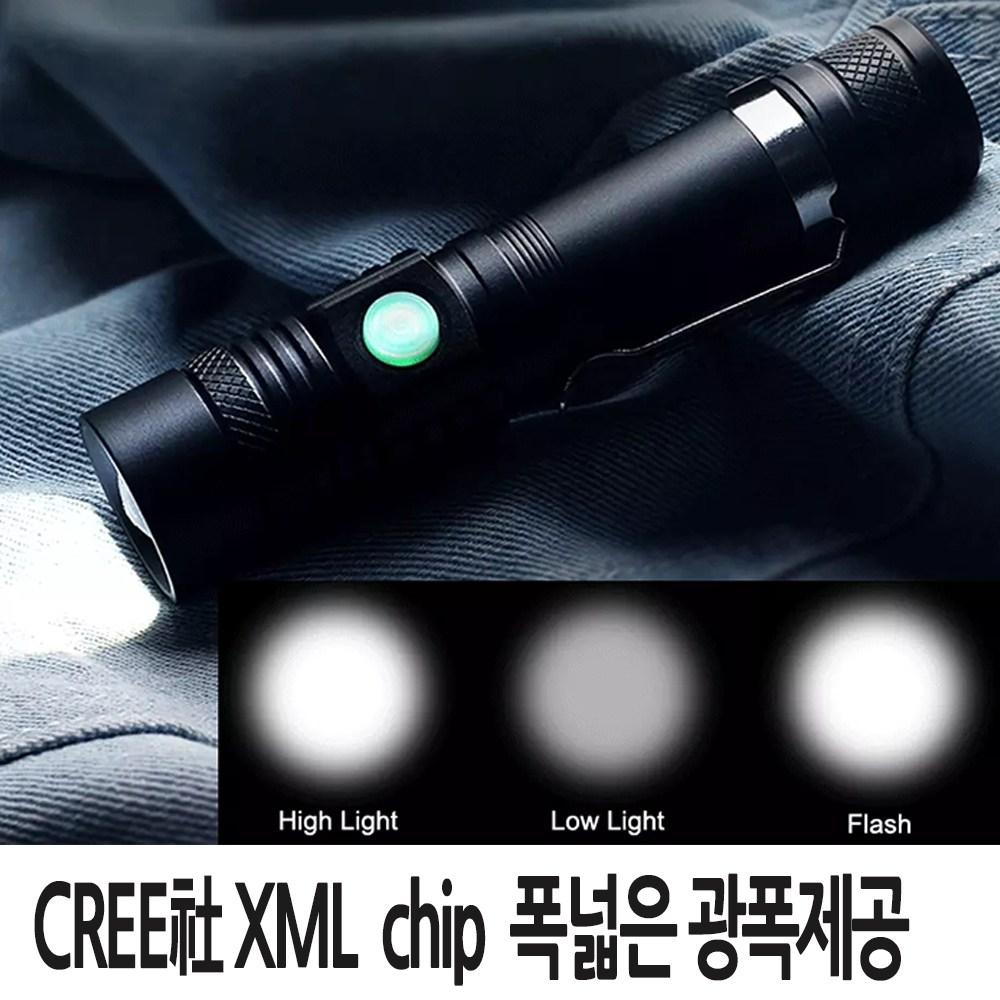 동화상사 LED 충전식 줌 손전등 후레쉬 등산 랜턴 XML-T6 (mp518)DJDV보호충전지, 1개