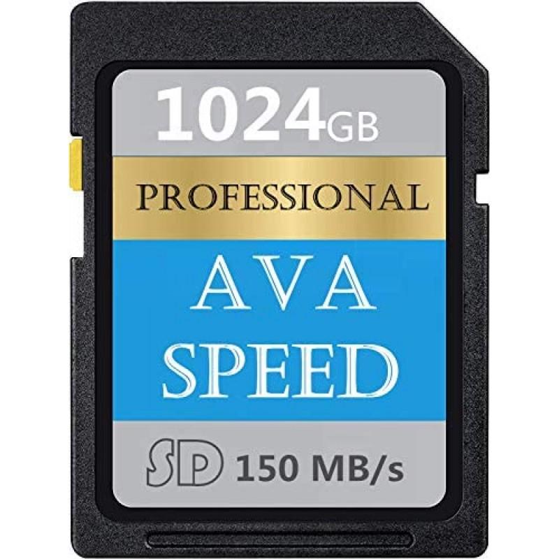AVASPEED Professional 1024GB SDXC UHS-II 메모리 카드 V60 U3 최대 150MB/S 고속 풀 HD 비디오 디지털 카메라(1TB):, 1