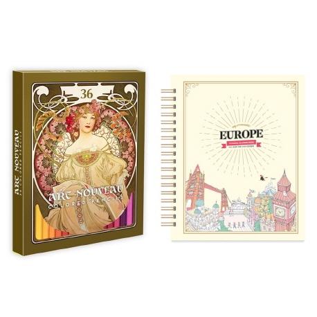 마이 로맨틱 유럽 스티커 컬러링북+아르누보 36색 색연필 세트, 아르누보