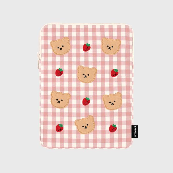 어프어프(earpearp) Dot strawberry check-pink(아이패드 파우치)