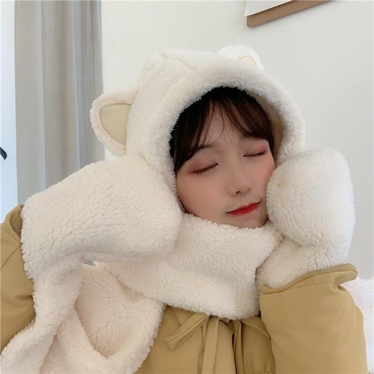 여성 잡화 3컬러 귀여운 곰돌이귀 목도리 장갑겸 모자