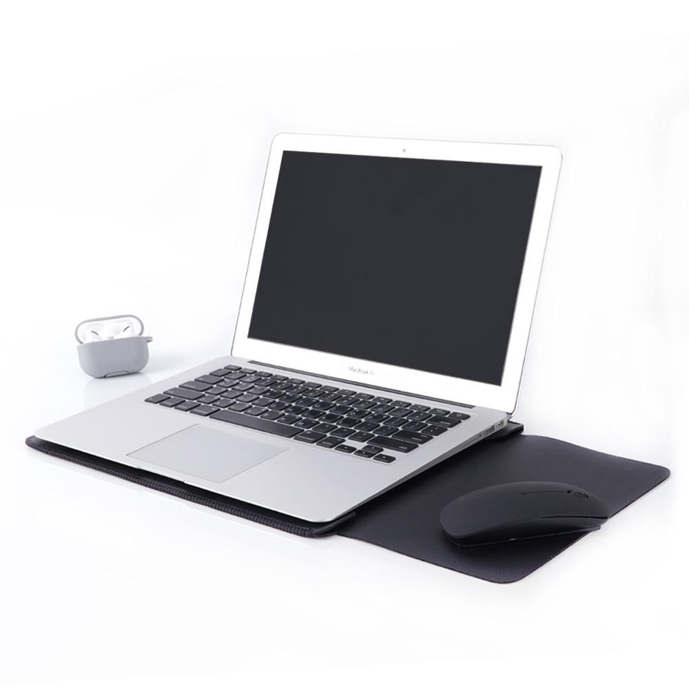 삼성 노트북 이온 13 15인치용 마우스패드 가죽 심플 파우치, 블랙
