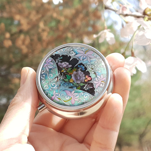 드리다샵 휴대용 자개 귀걸이보관함 알약케이스 미니보석함 선물포장, 목단꽃
