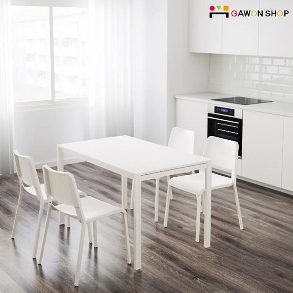 이케아 MELLTORP-TEODORES 4인용 테이블세트, 테이블1개(화이트)+의자4개(화이트)