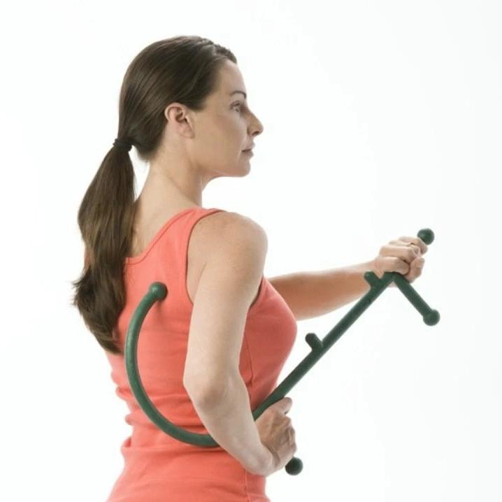 bounce 뭉친근육어깨 풀어주는 셀프안마기 갈고리지압봉, 보라색, 1개