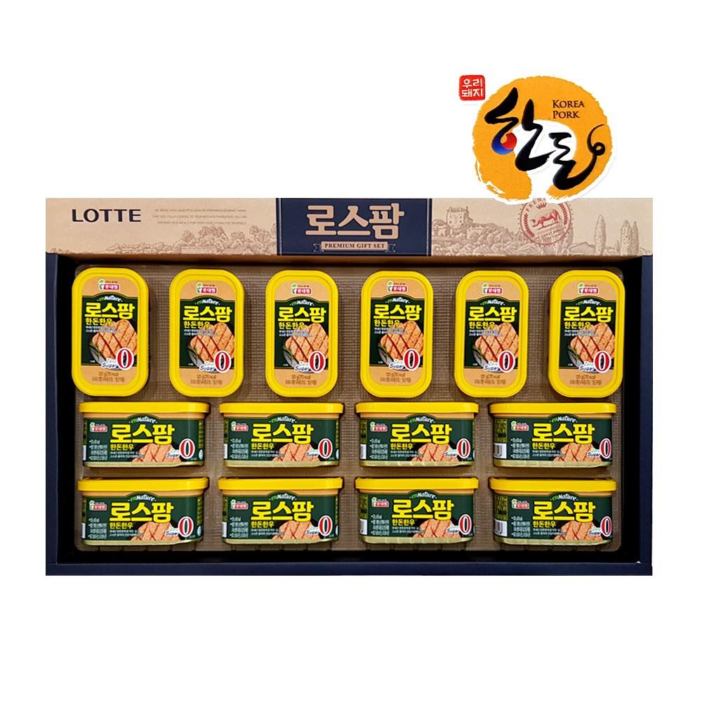 롯데푸드 로스팜 한돈한우H1호 선물세트백 스팸통조림 1 2320g 2320g