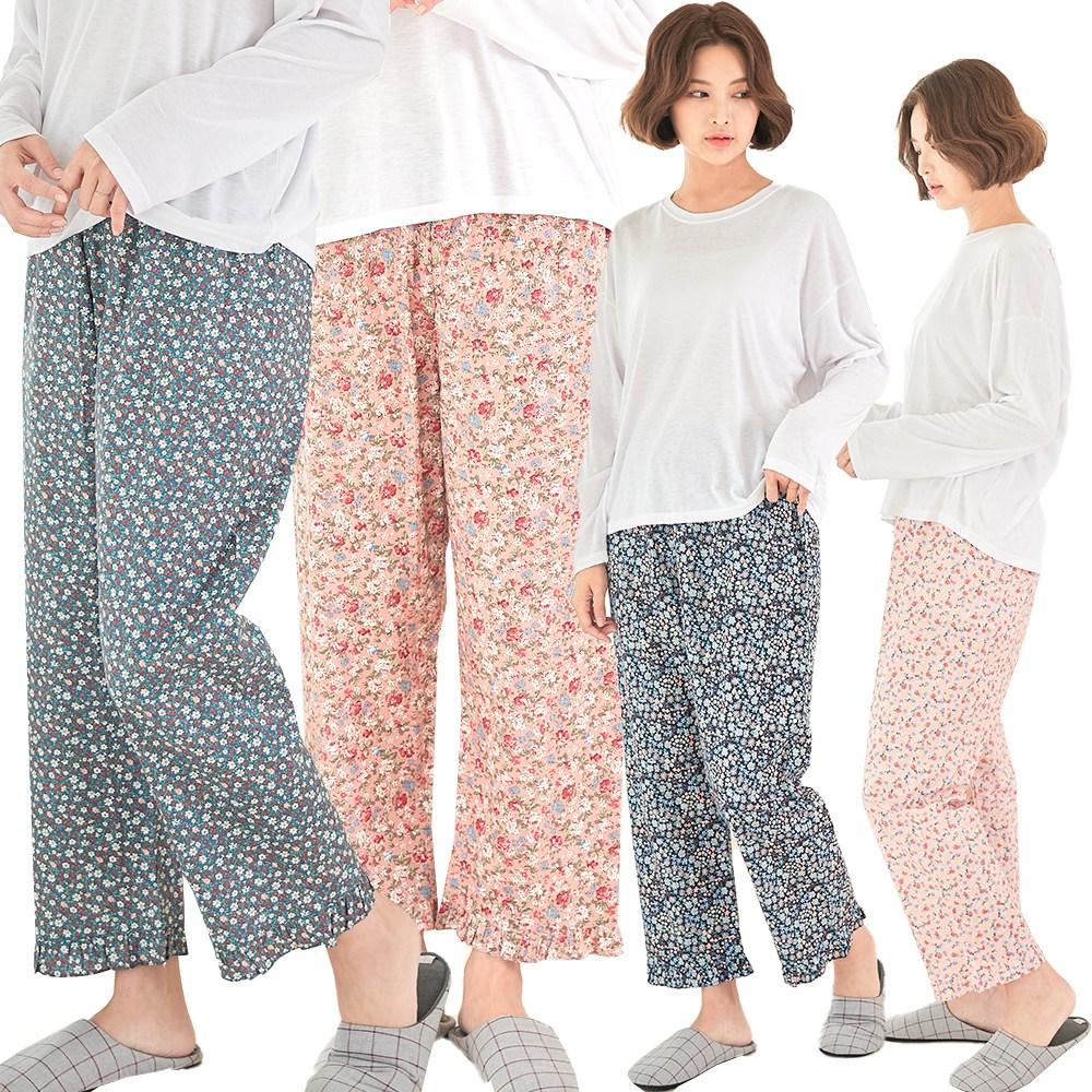 토토와모모 국산/ 플라워 파자마 꽃무늬 홈웨어 잠옷 바지 7부 9부 95호 100호(빅사이즈)