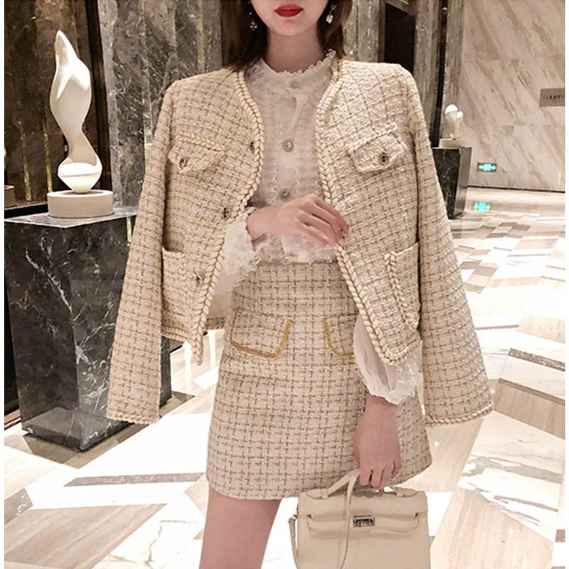 가을 여성 스타일 트위드 자켓 스커트 투피스 세트