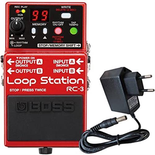 보스 RC-3 루프 스테이션 효과 페달 + 드럼 전원 공급 9 V 유지