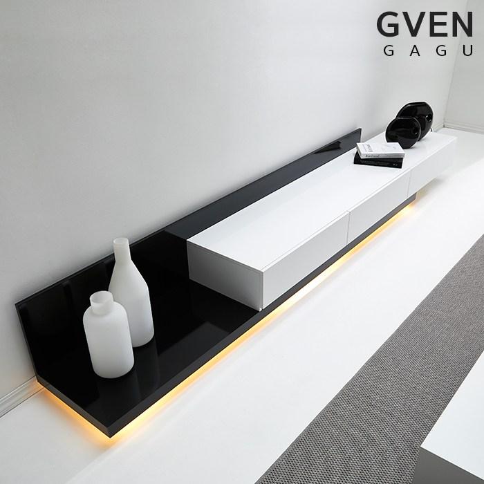 "GVEN 지벤 노르마니 LED 익스텐션 모던 거실장 서랍/수납장>>TV장/거실장, 블랙화이트""/></a></p> </div> <hr style="