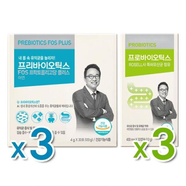 오한진 프리바이오틱스 FOS 플러스 3개월 + 프로바이오틱스 3개월, one color/free