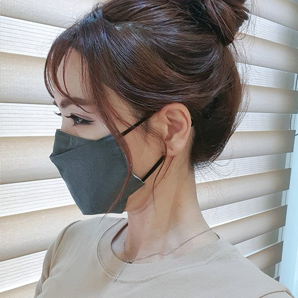 히요코 입체형 순면마스크 - 소형 차콜, 1개