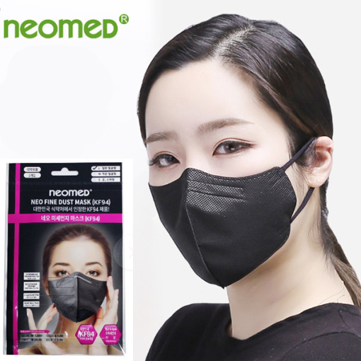 네오메드 블랙 대형 마스크 여성용 부리형 성인용마스크 어른마스크 KF94 블랙대형, 1매입