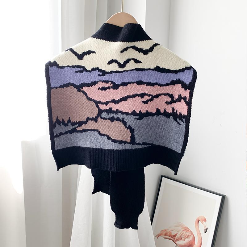 어깨숄 봄가을 어깨걸치는 작은숄 밖에걸쳐입는스타일 니트 개성 유행패션 숄 매듭짓기 스카프 목보호