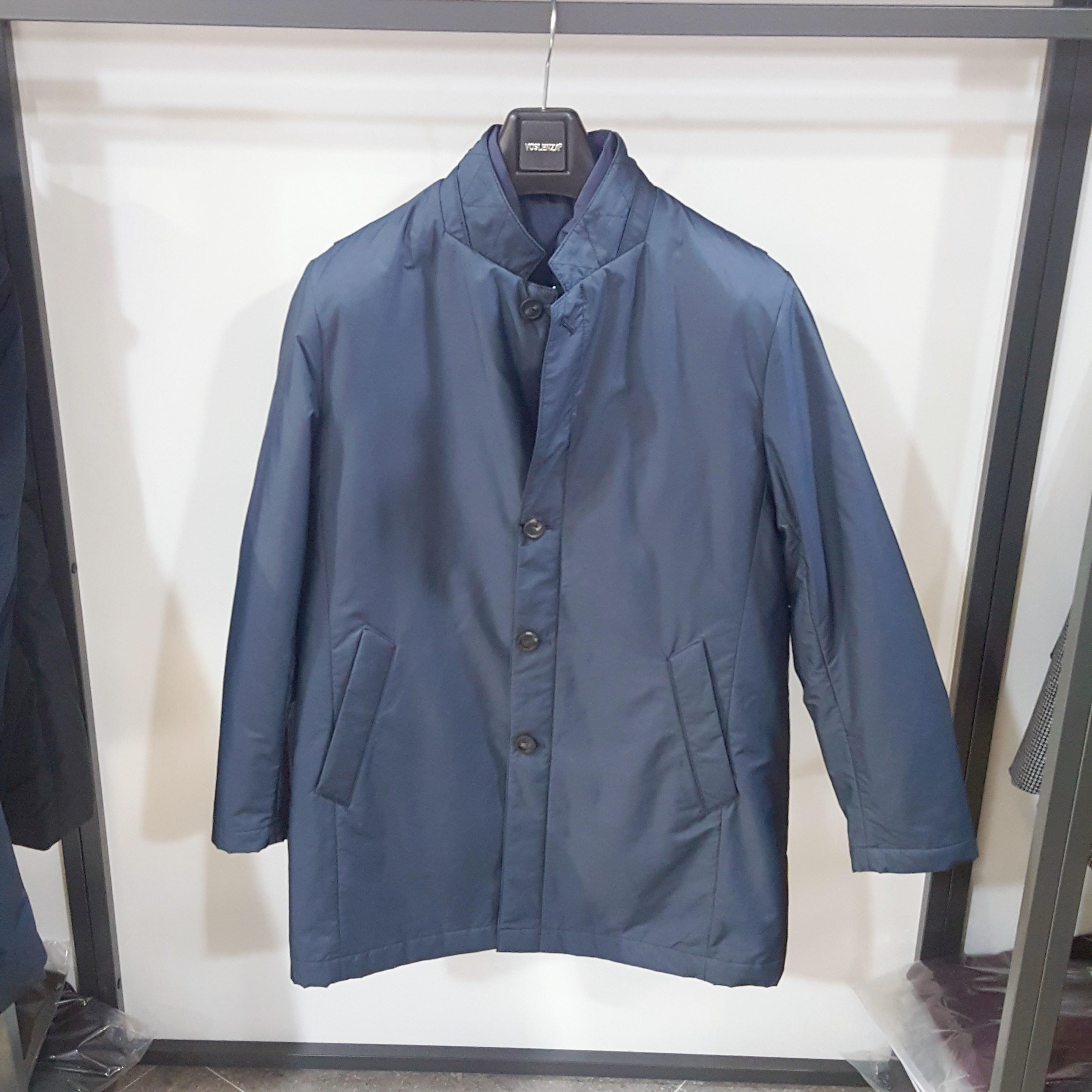 [행복한백화점][보스렌자]남성 기본라인 하프기장 겨울 패딩조끼 세트 바바리 패딩점퍼 블루컬러 RFFHC9923