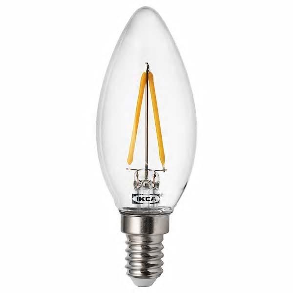 이케아 뤼에트 LED전구 E14 200루멘 2700K 샹들리에 투명 35x98mm, 1개, 이미지참조